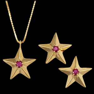 Ruby star necklace and earrings
